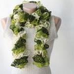 Green knit scarf winter acc..