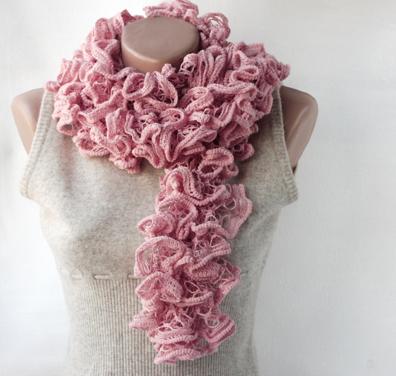 Pink knit scarf Powder pink Blush Sweet lilac Winter Spring accessories