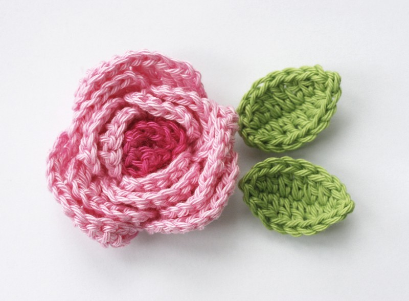 Crochet Rose : Crochet flower applique pink rose is made of pure cotton yarn.