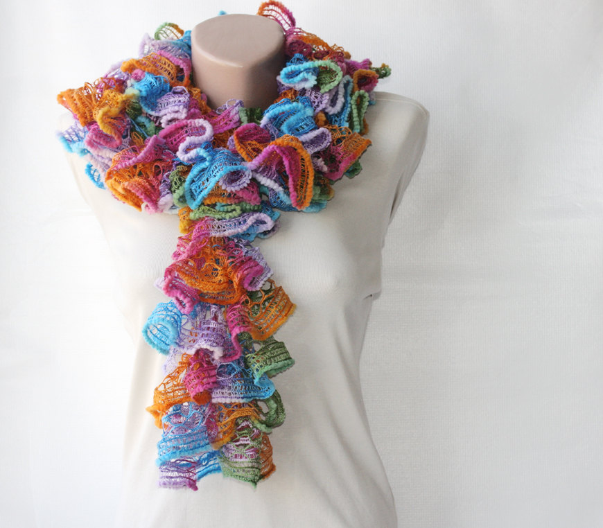 Knit Frilly Scarf Rainbow Colors on Luulla
