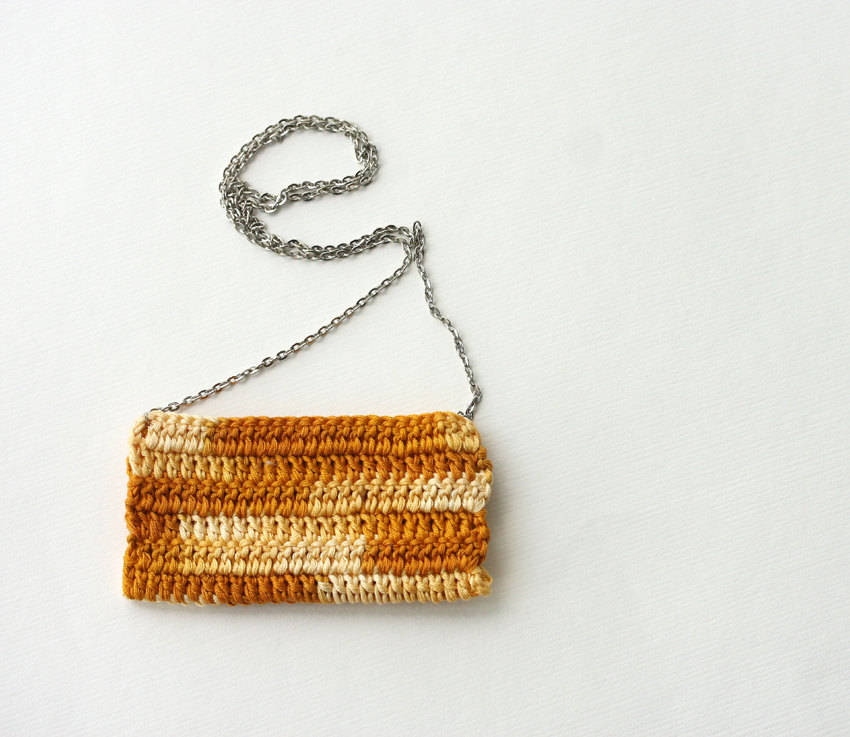 Crochet necklace Batik necklace Orange mustard harvest gold Autumn Fall fashion