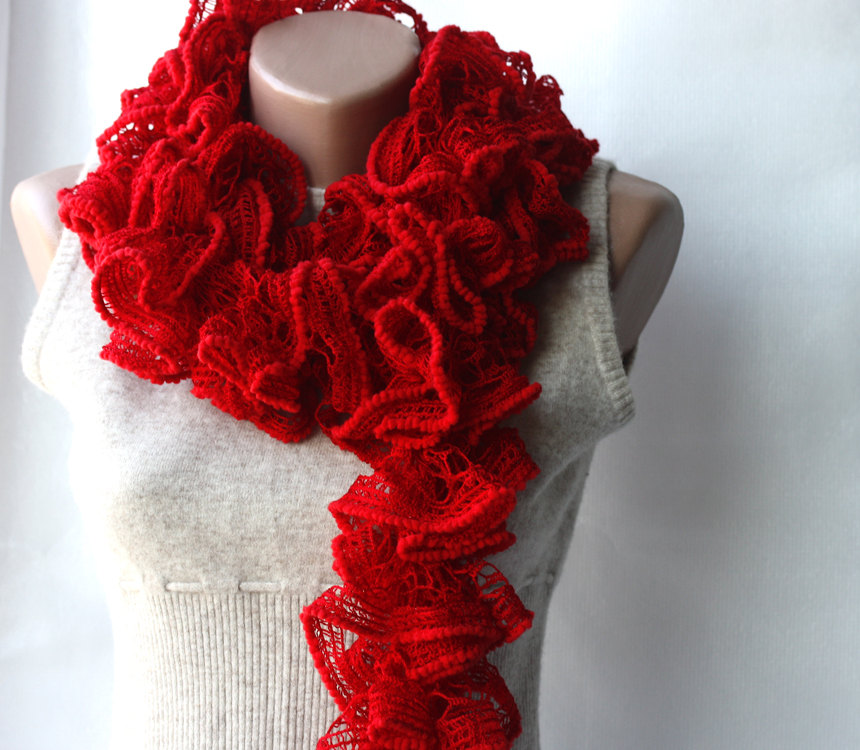 Red knit scarf Scarlet dark Lipstick red Winter fashion