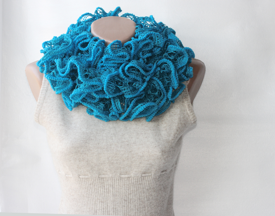 Turquoise knit scarf chunky azure blue winter fashion