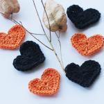 Whimsy heart appliques in orange and black epictt therougett efpteam