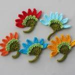 Crochet flower applique aster dark ..