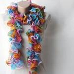 Knit frilly scarf rainbow c..