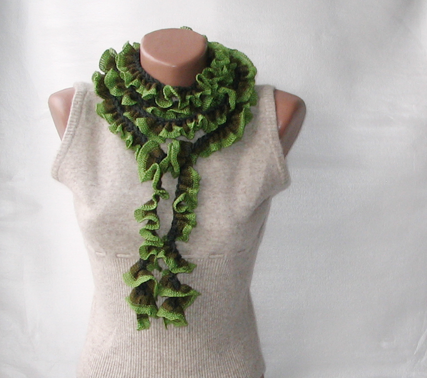 Crocheting Ruffle Scarf : green crochet ruffled scarf green crochet ruffled scarf by scarfland ...
